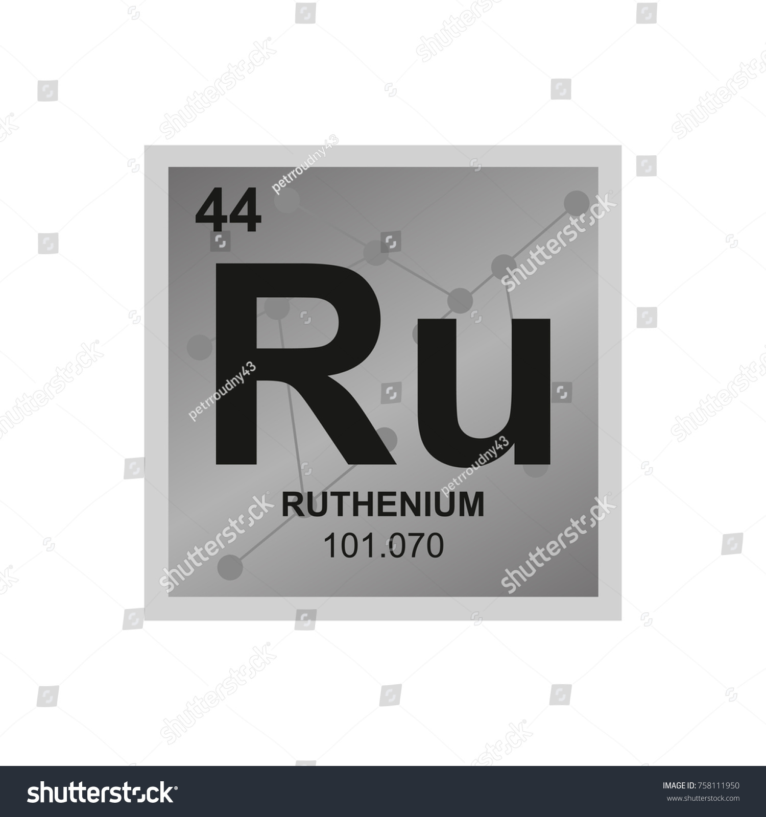 Vector Symbol Ruthenium Periodic Table Elements Stock Vector