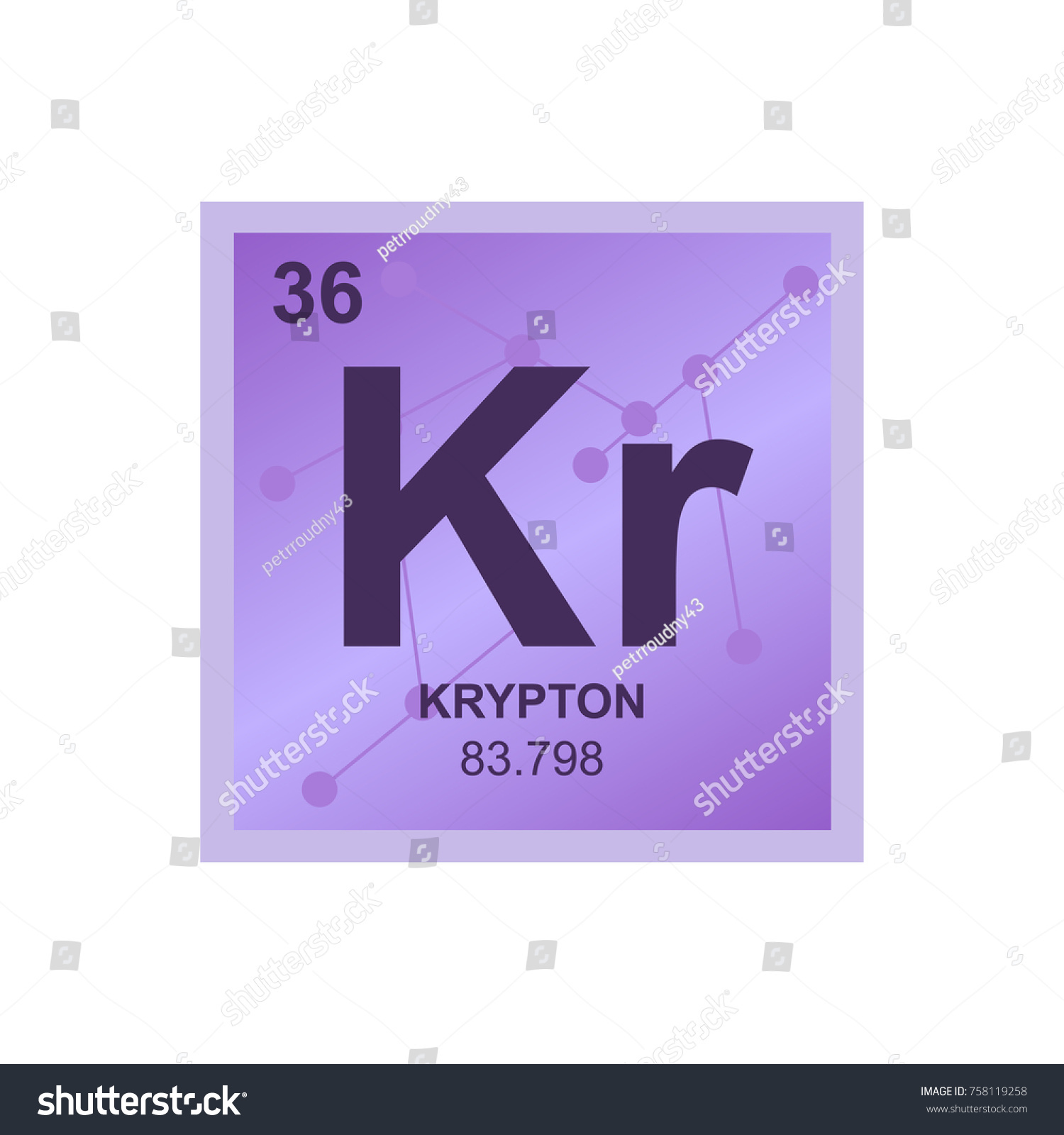 Vector symbol rare gas krypton periodic stock vector 758119258 vector symbol of a rare gas krypton from the periodic table of the elements on the gamestrikefo Images