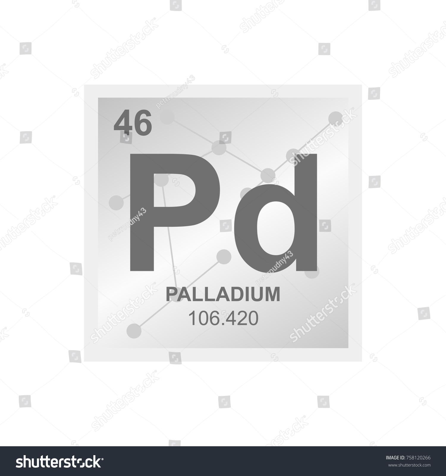 Vector Symbol Palladium Periodic Table Elements Stock Vector