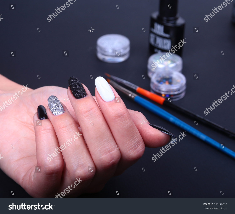 Black White Nail Art Manicure Holiday Stock Photo (Royalty Free ...
