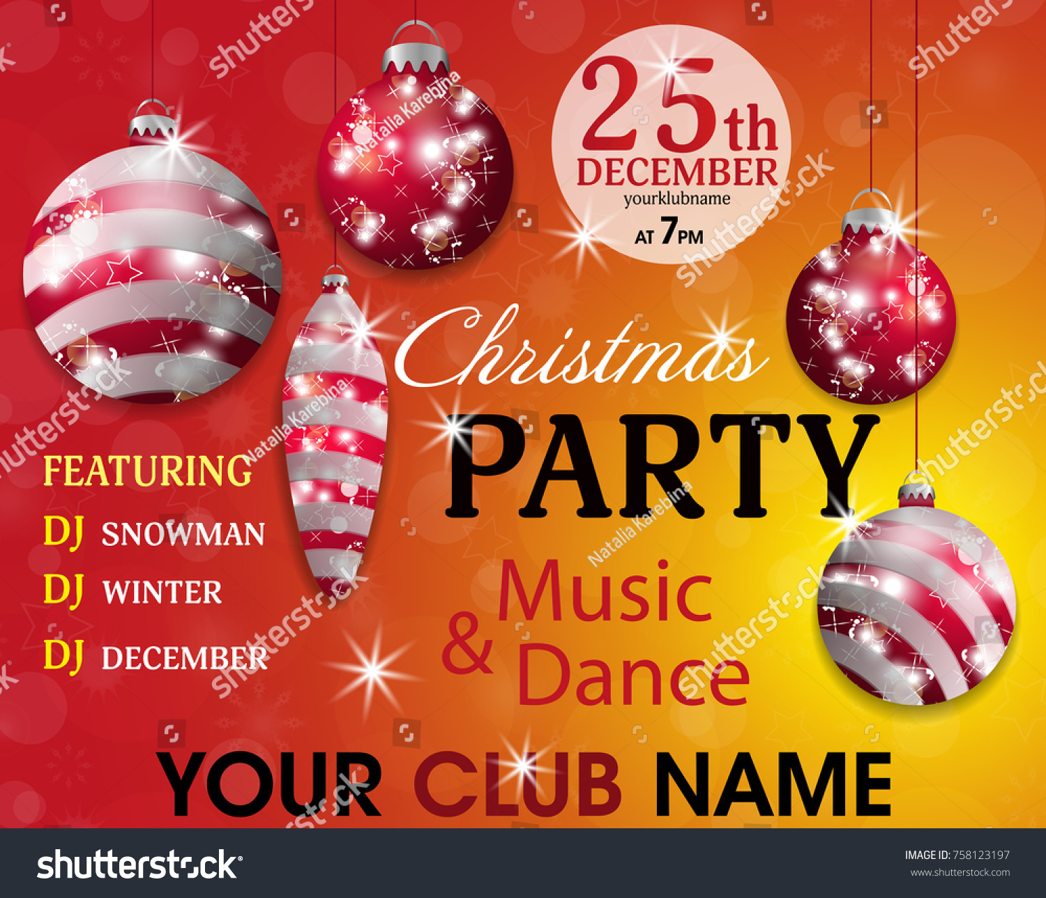 Christmas Party Invitation Template Red Yellow Stock Vector ...