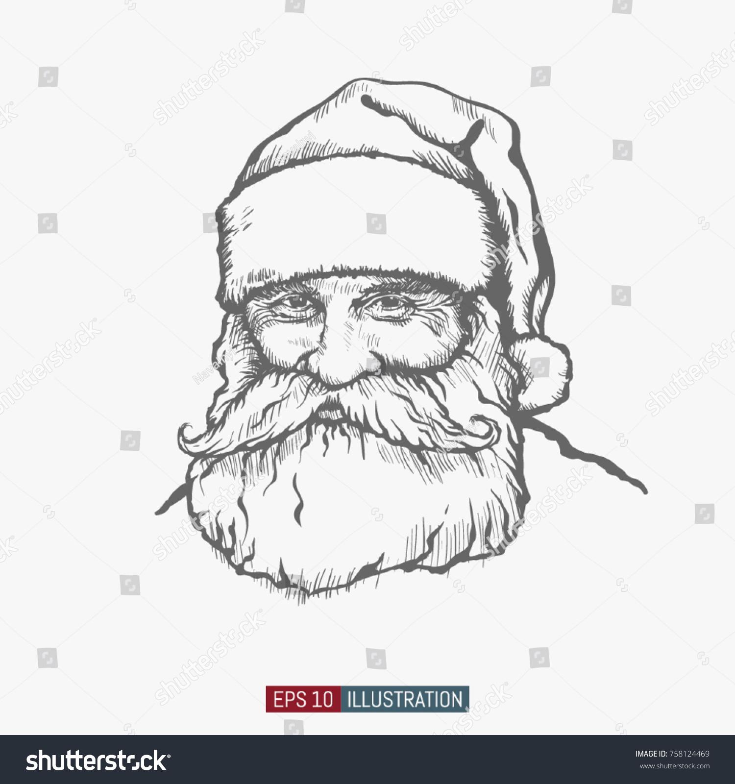 Santa Claus Hand Drawn Christmas Character Stock Vector 758124469 ...