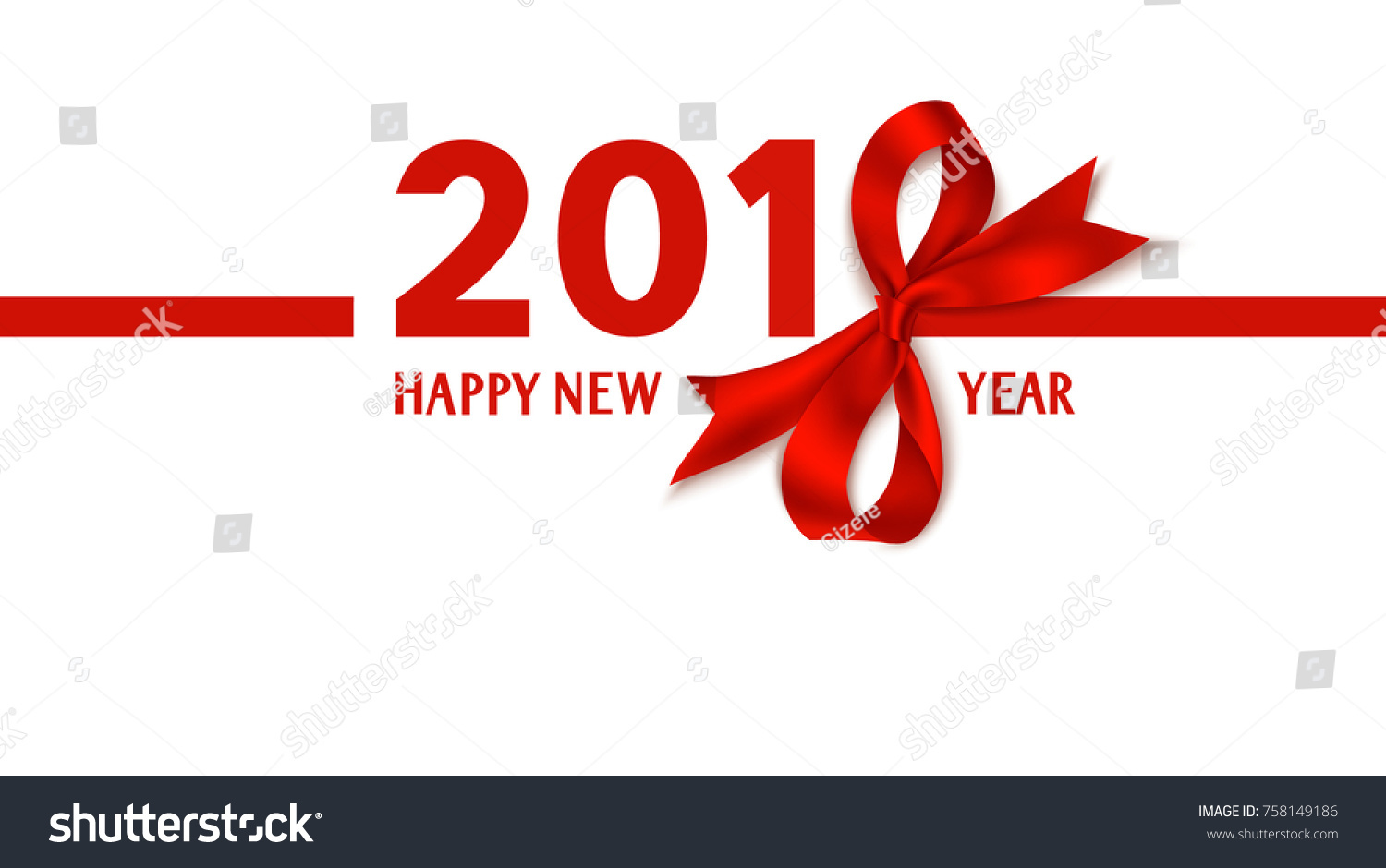 happy new year 2018 template design vector background with red bow and ribbon 2018