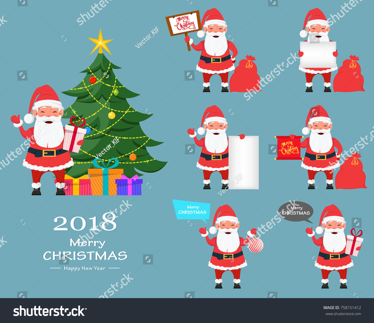 Merry christmas happy new year greeting stock vector 758151412 merry christmas and a happy new year greeting card set of santa claus funny kristyandbryce Choice Image