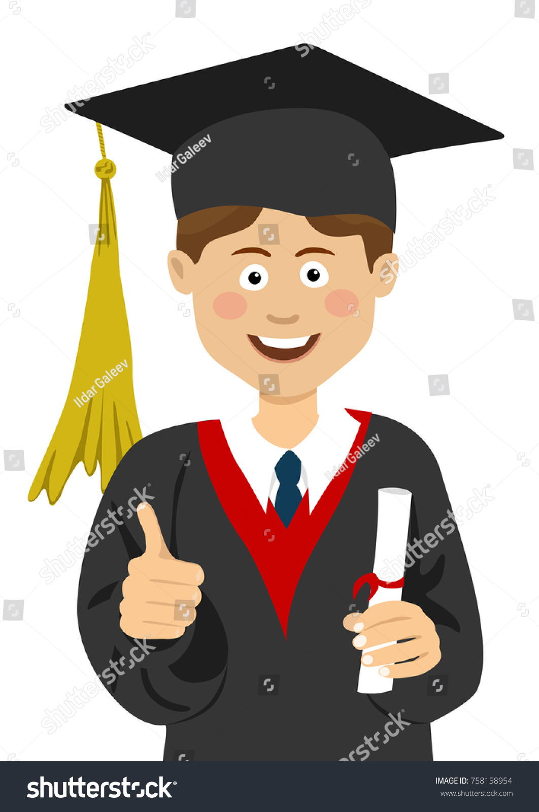 young boy graduate student graduation cap stock vector  young boy graduate student in a graduation cap and mantle a university diploma in his