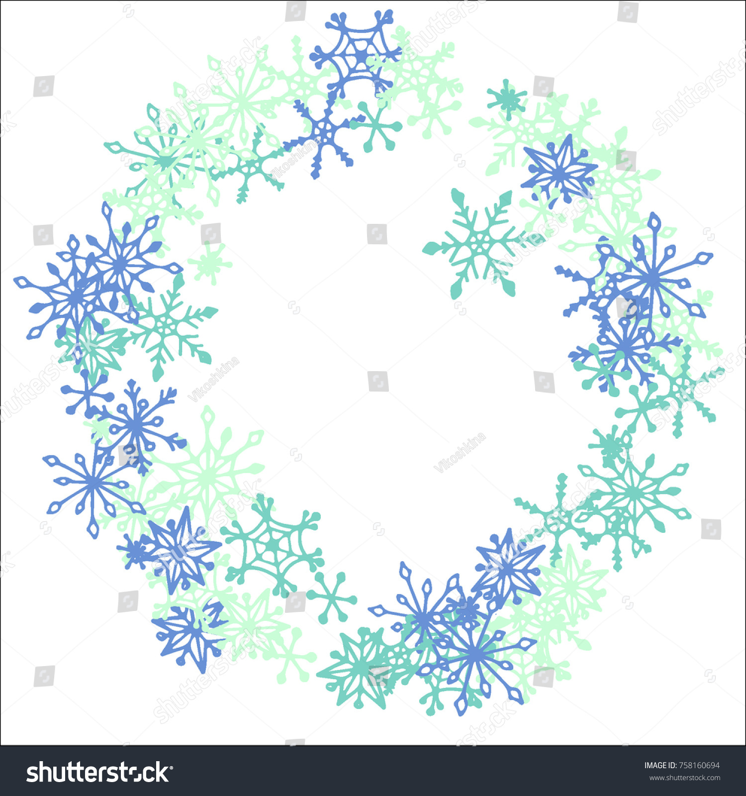winter frame cute doodle snowflakes blue stock vector royalty free 758160694 shutterstock
