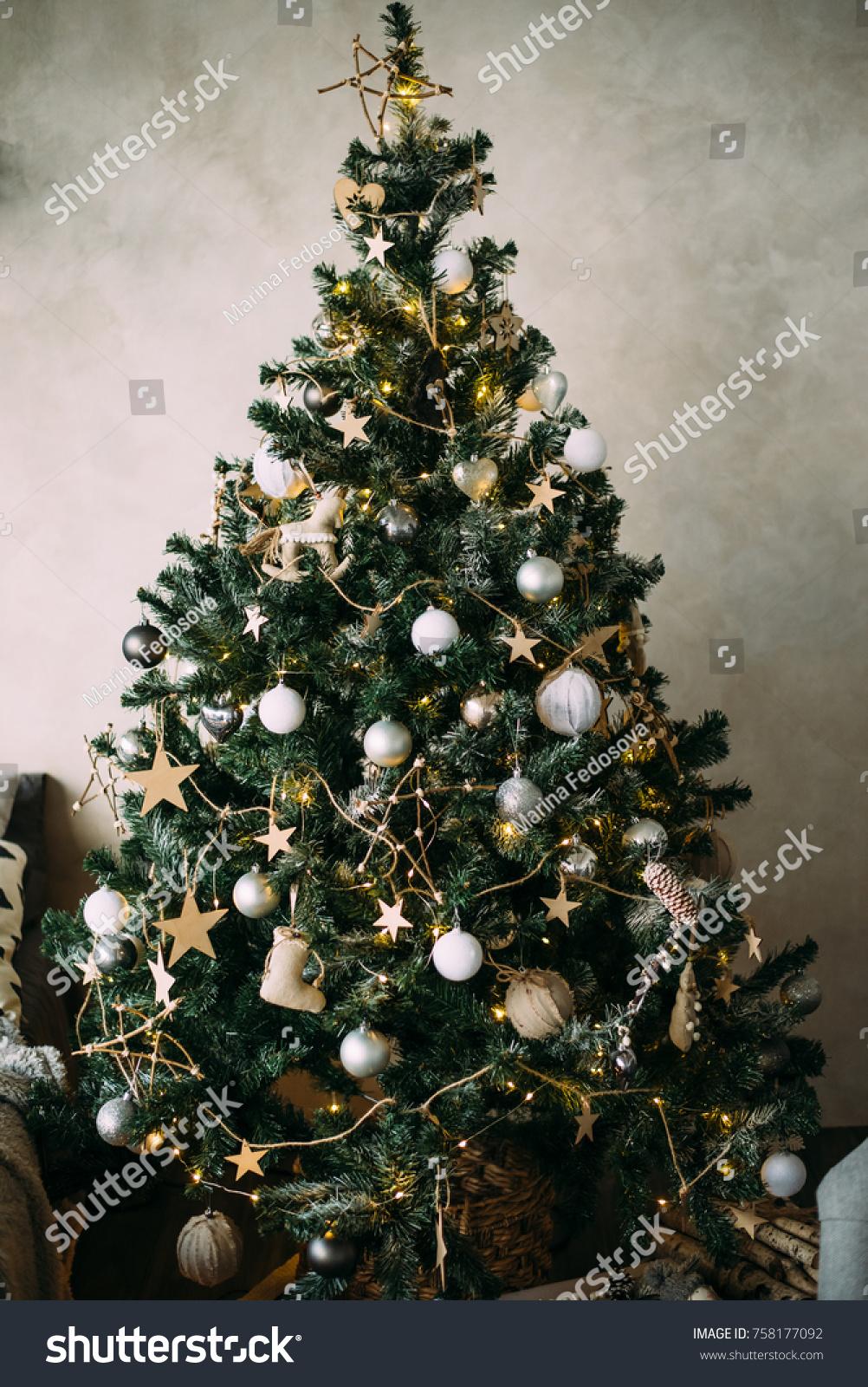Christmas Tree White Gold Toys Stock Photo Edit Now 758177092