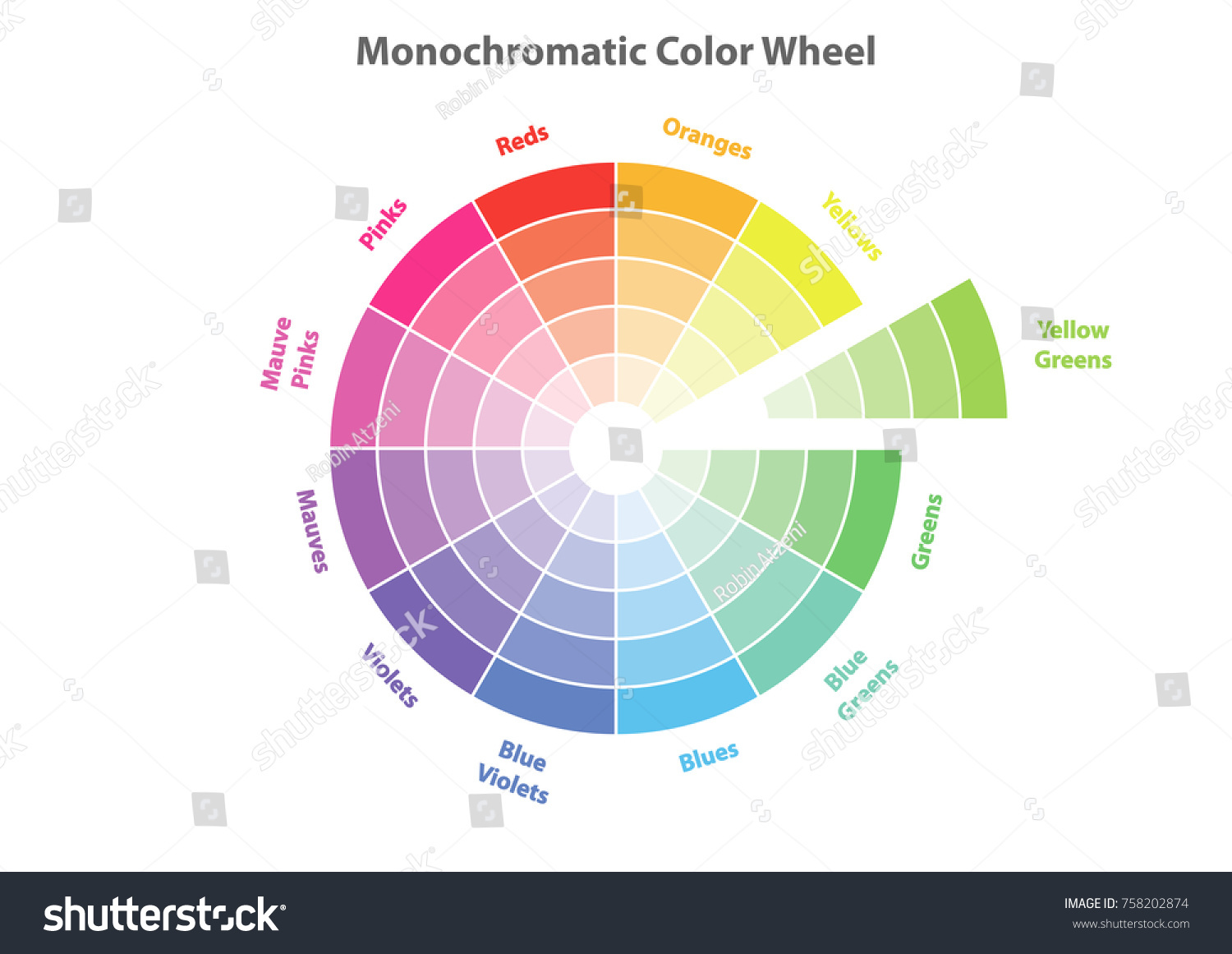 Monochromatic Color Wheel Scheme Theory Vector Isolated Or White Background