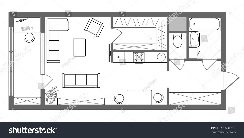 Vector Floor Plan Long Studio Apartment Stock Vector Royalty Free 758205907