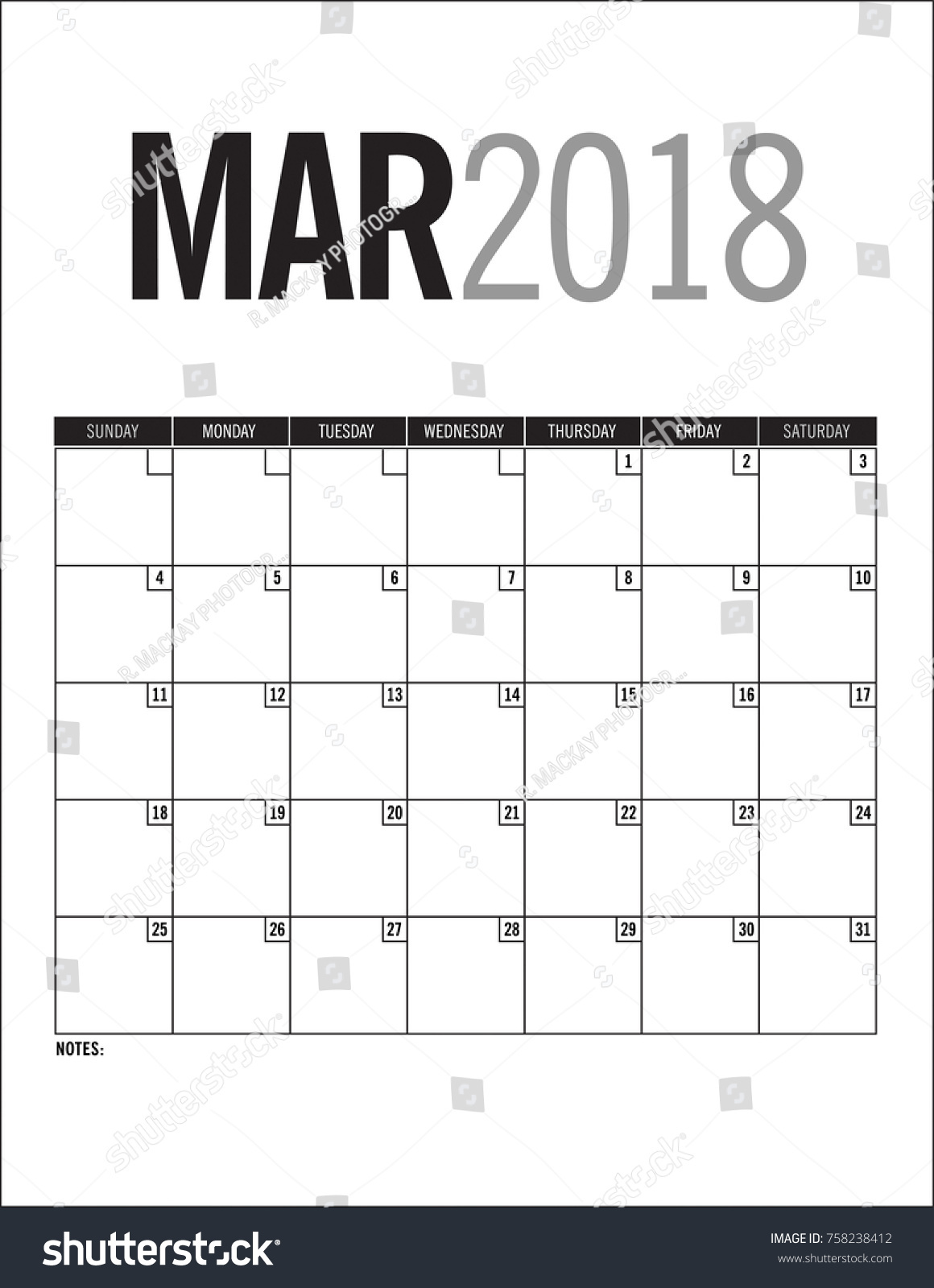 2018 blank calendar pages