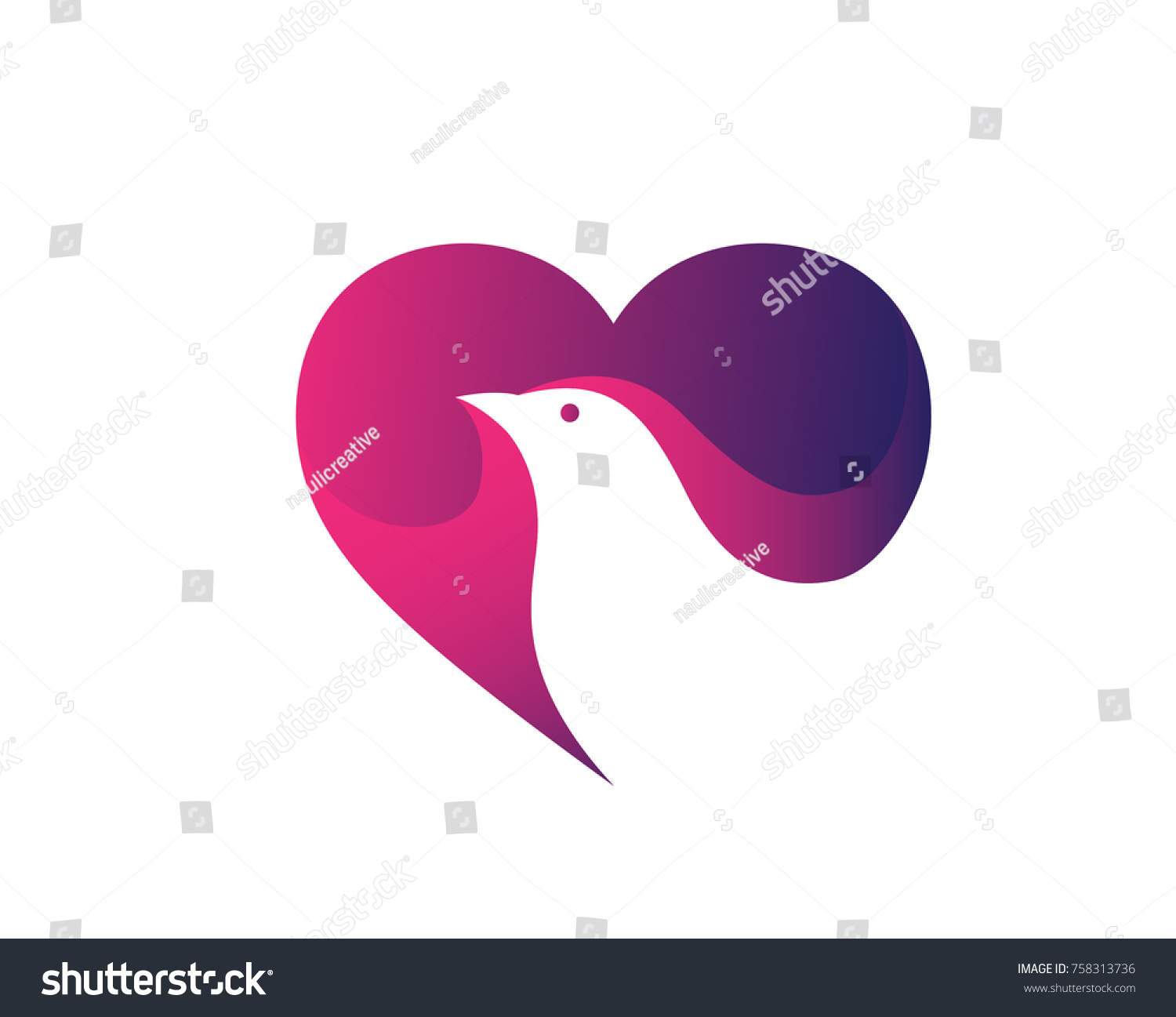 Modern Pigeon Logo Love Peace Heart Stock Vector Royalty Free