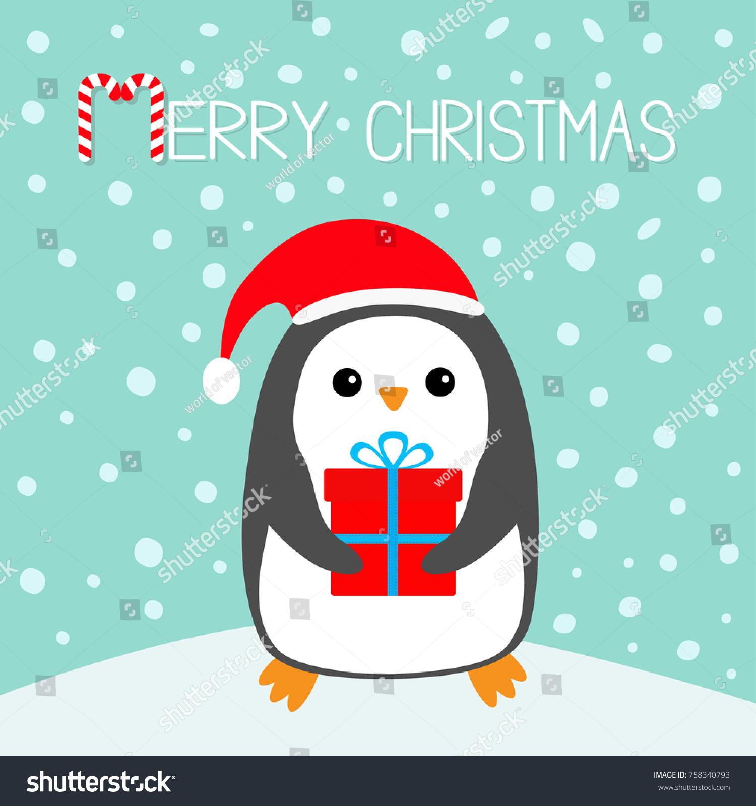 23e483a92221f Santa Claus red hat. Gift box. Cute cartoon kawaii funny animal character.  Flat design. Winter blue snow background. Greeting card Vector illustration  - ...