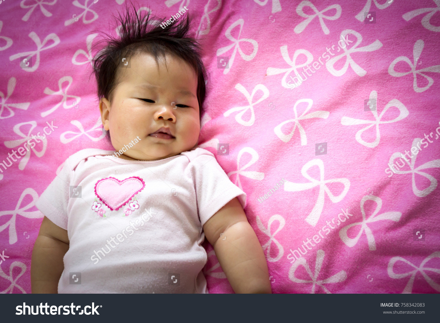 portrait sian cute infant baby girl stock photo (royalty free