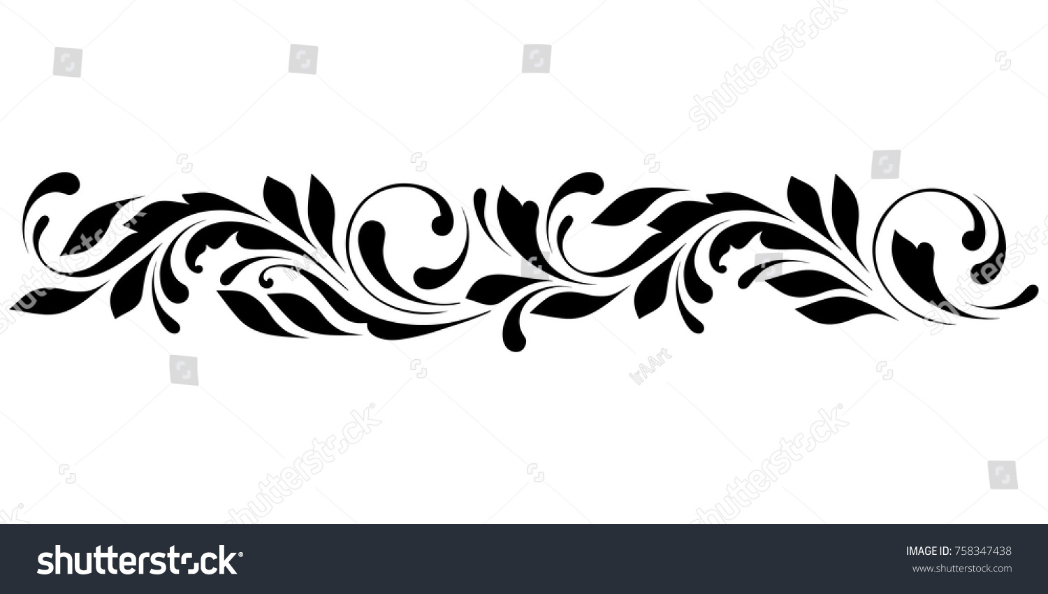 Outline Floral Pattern Ornamental Border Ribbons Stock Vector