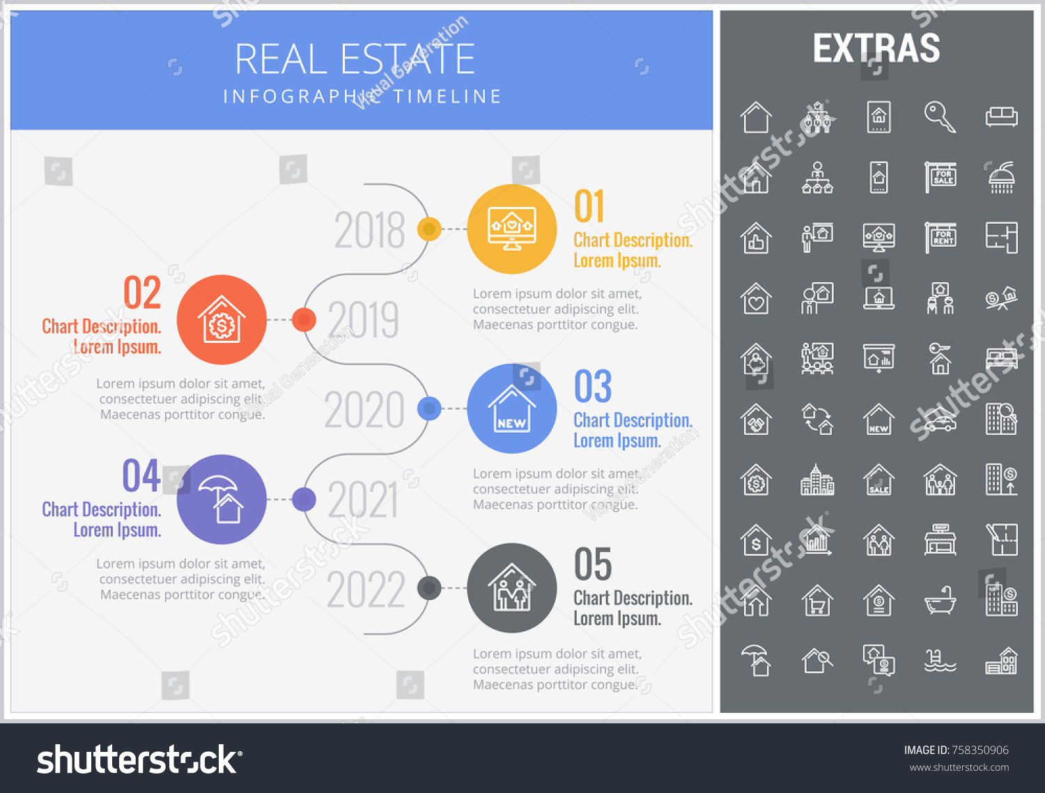 real estate infographic timeline template elements stock vector