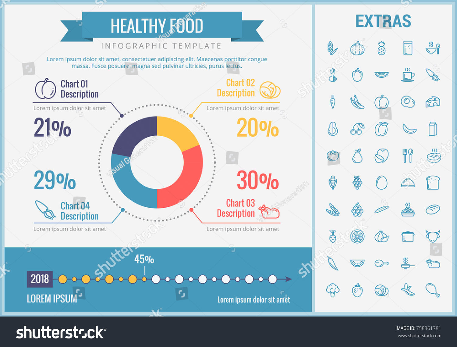 Healthy food infographic template elements icons stock vector healthy food infographic template elements and icons infograph includes customizable pie chart graph nvjuhfo Choice Image