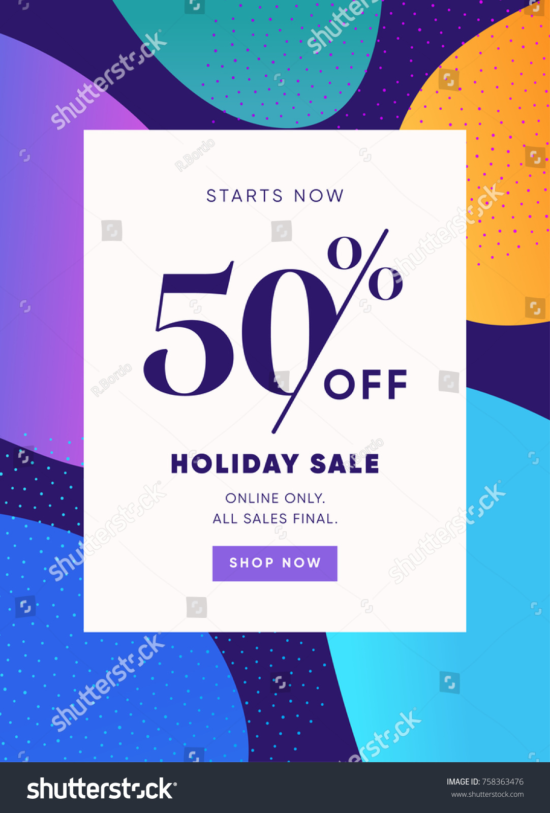 Holiday Sale Banner 50 OFF Special Offer Ad Discount Promotion Vector