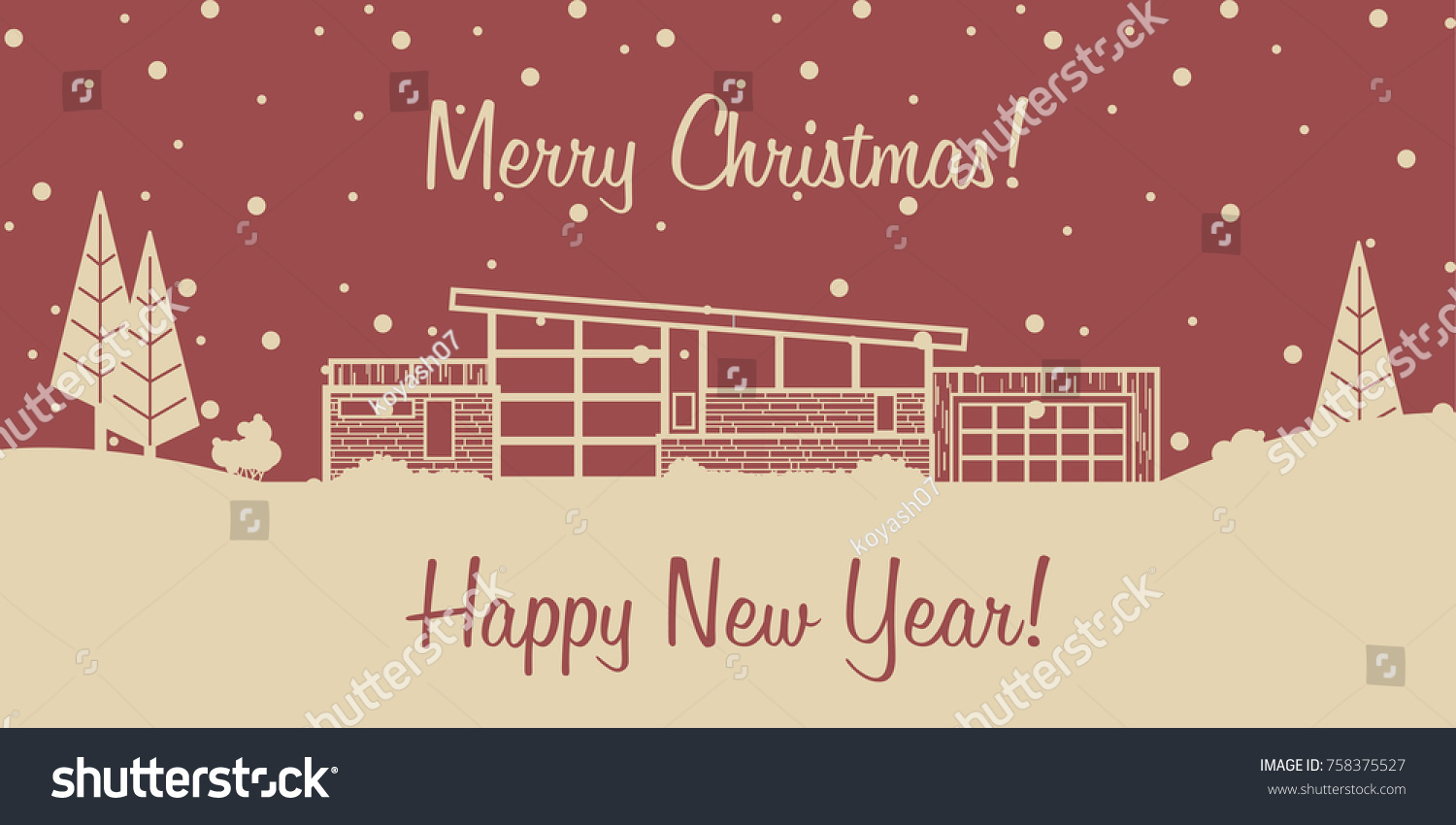merry christmas and happy new year 2018 vector greeting card stylization under the mid century