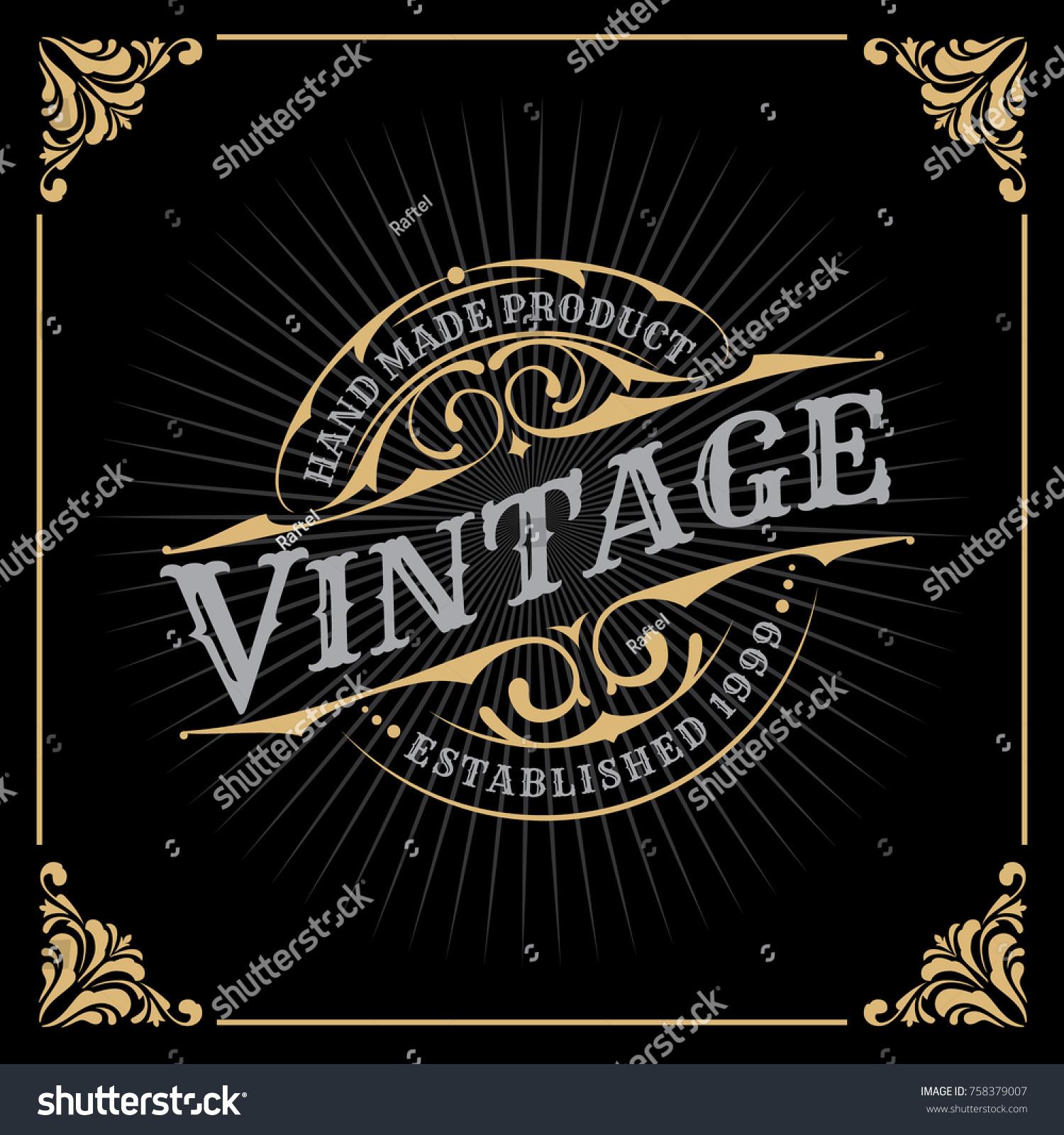vintage luxury banner template design label stock vector 758379007