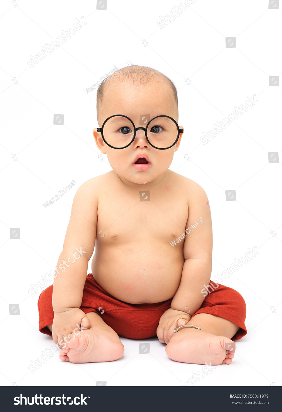 cute baby wear big glasses red stock photo (edit now) 758391979