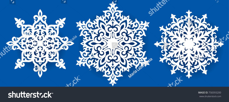 vector snowflake laser cut template cutout stock vector royalty