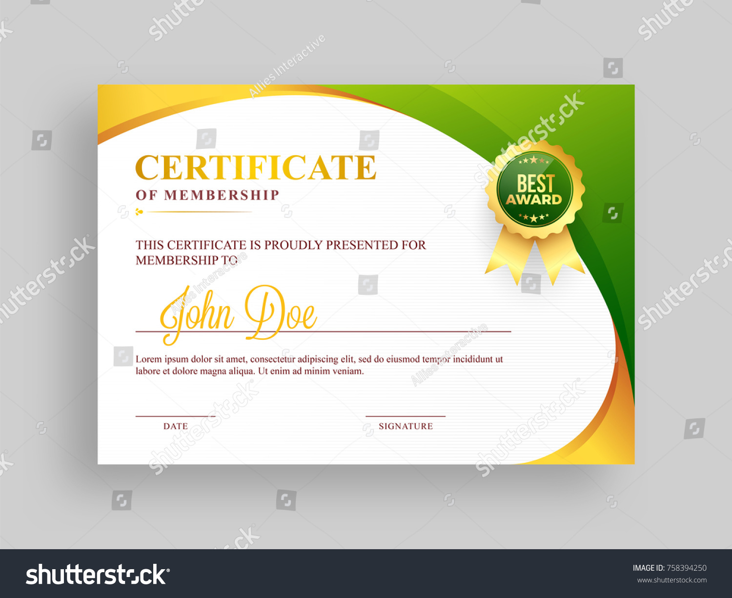 Certificate Membership Template Green Golden Design Stock Vector