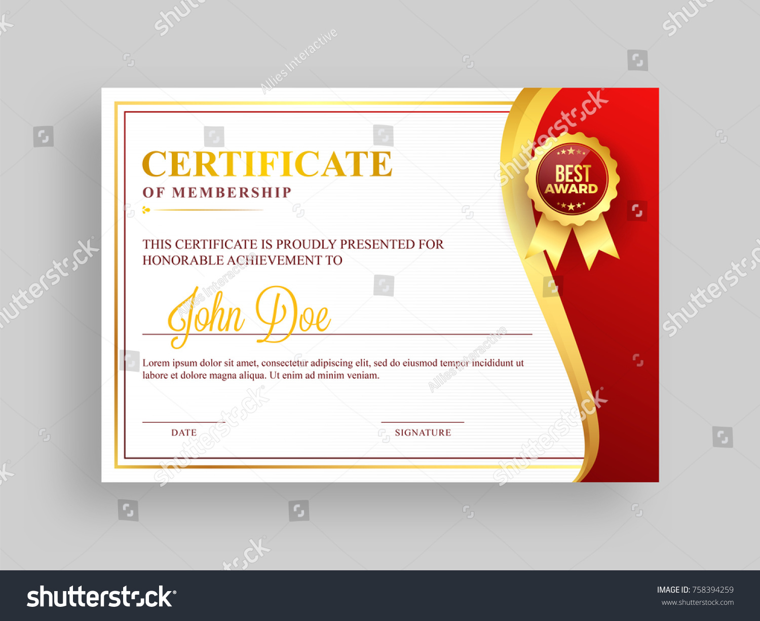Certificate Membership Template Red Golden Design Stock Vector