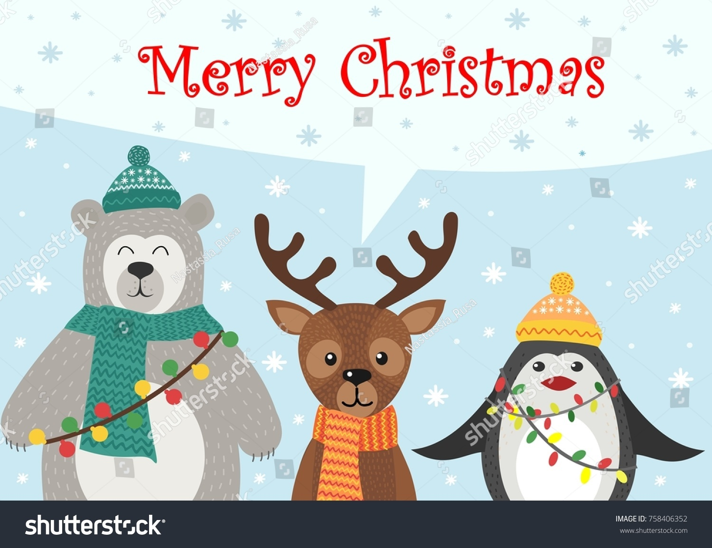 Greeting card christmas new year christmas stock vector 758406352 greeting card with christmas and new year christmas animals greetings in the style of kristyandbryce Gallery