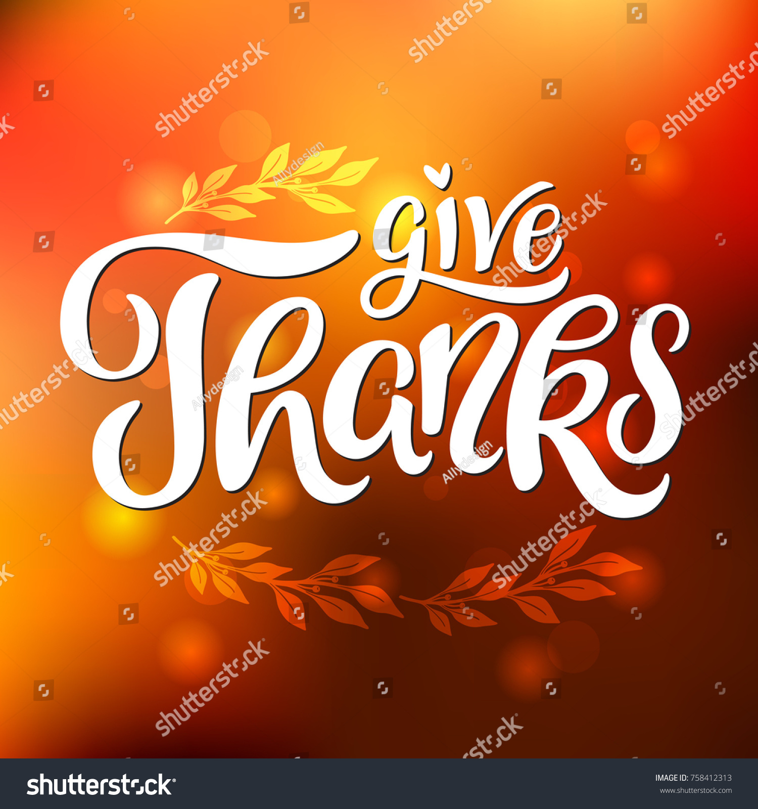 Give thanks message thanksgiving greeting hand stock vector give thanks message thanksgiving greeting hand lettering vector eps10 kristyandbryce Images