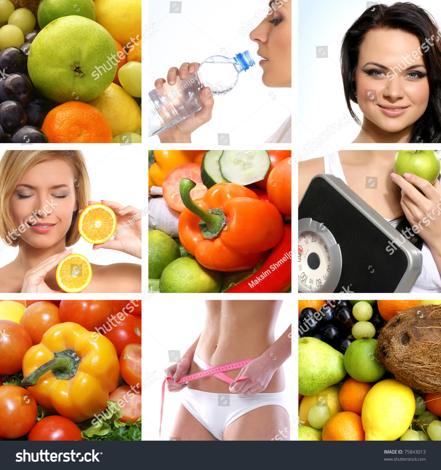 Eating and health - Beautiful Collage About Dieting Healthy Eating And Health Care
