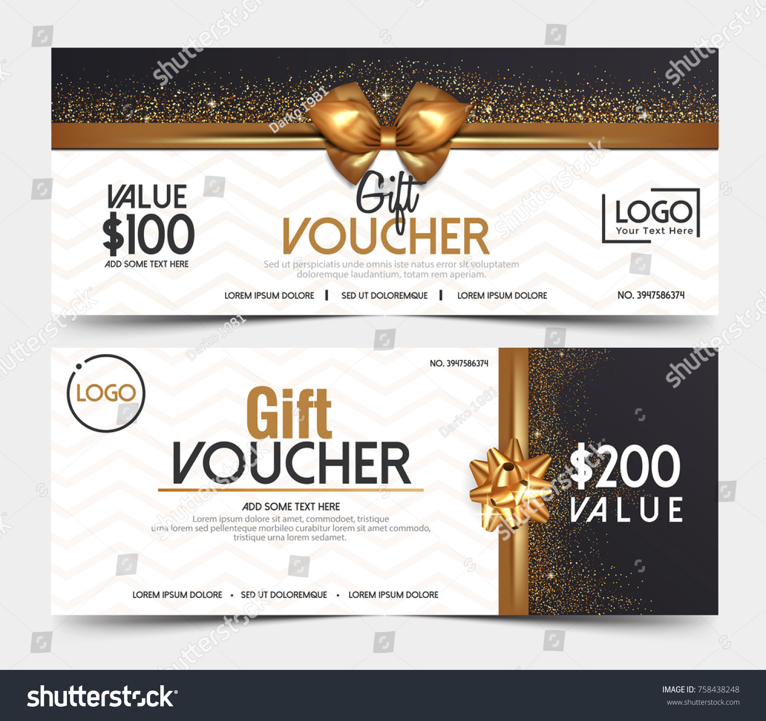 Gift Voucher Template Certificate Coupon Design Stock Vector