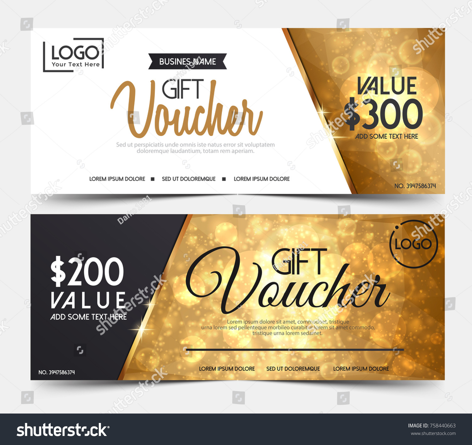 Gift Voucher Template Certificate Coupon Design Stock Photo Photo - Gift certificate template add logo