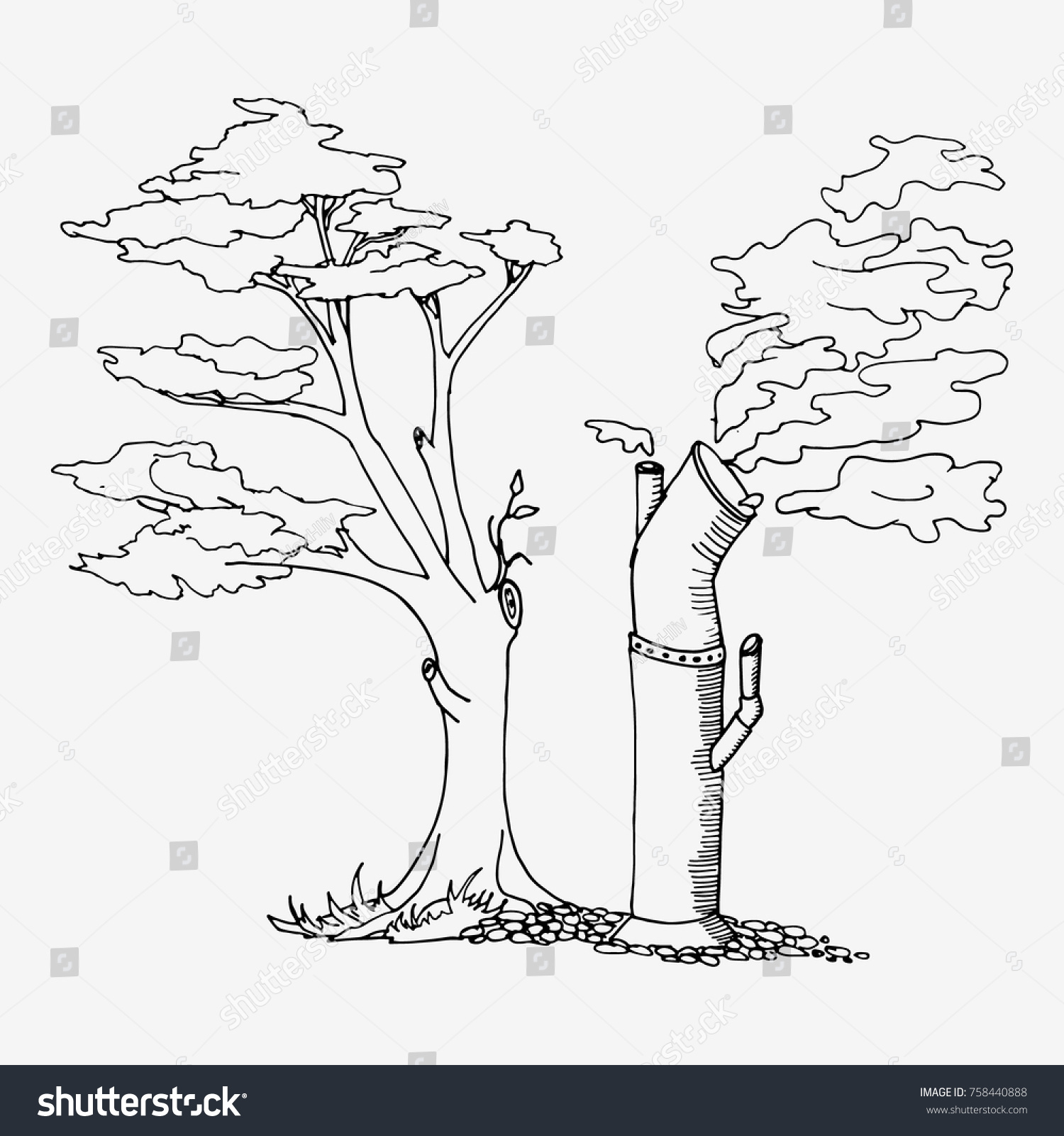 Environmental factory air pollution hand drawn sketch vector illustration black and white drawing