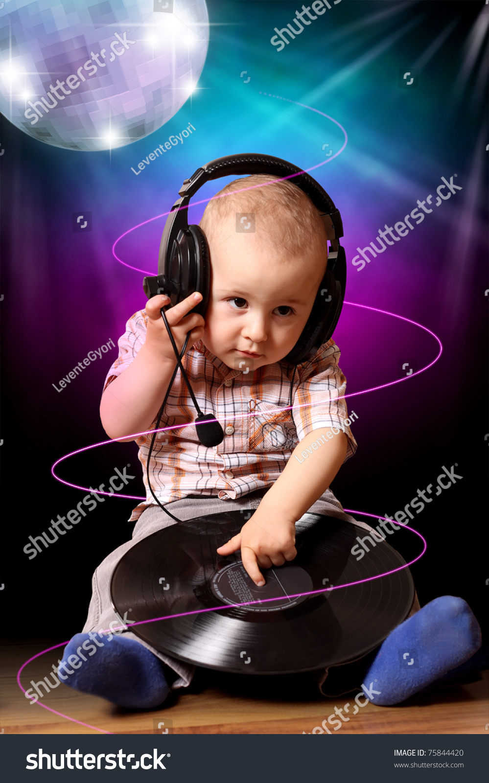 Cute Child Baby Dj Disco Stock Photo 75844420 Shutterstock