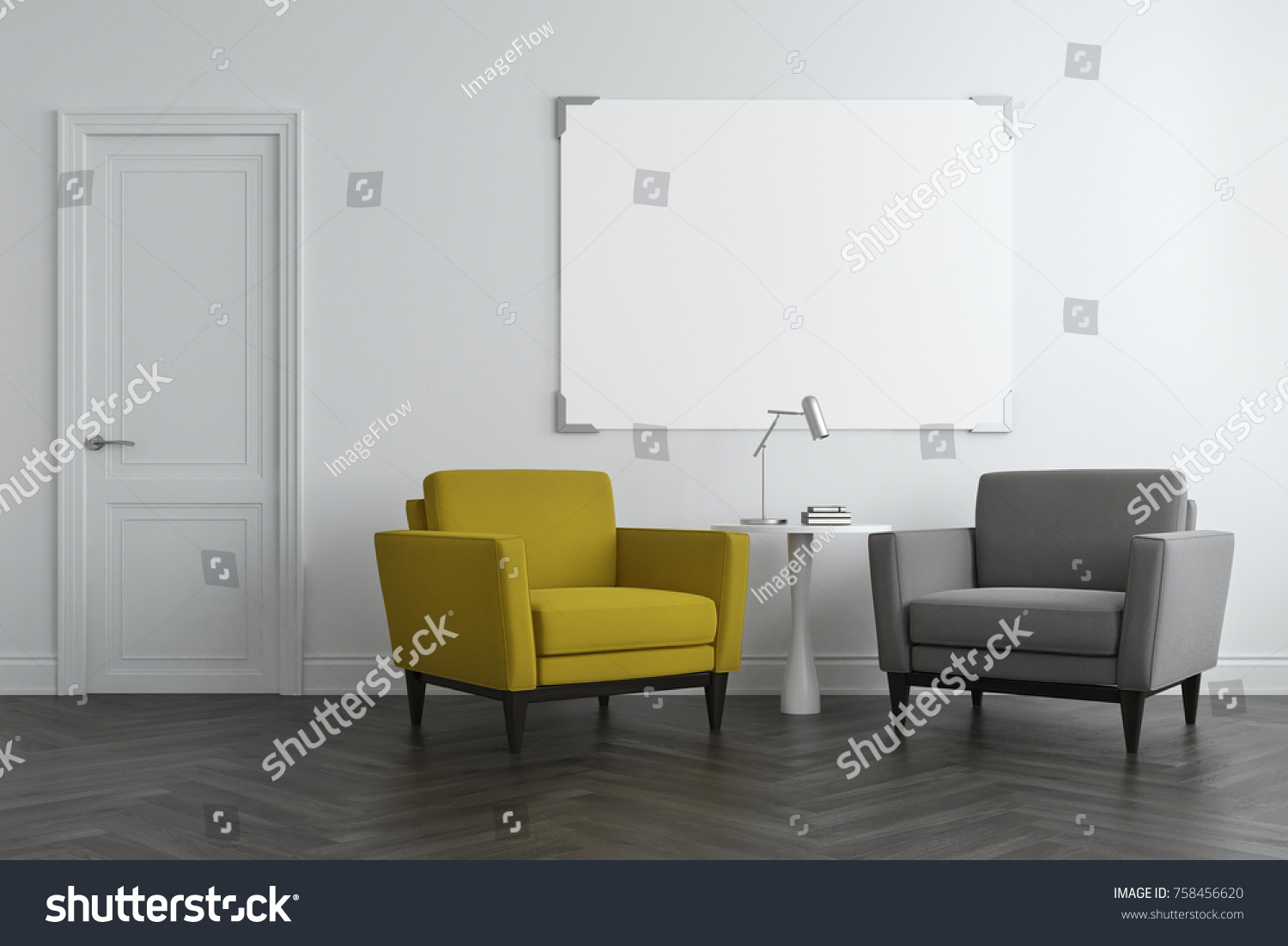 White Living Room Interior Concrete Floor Stock Illustration ...