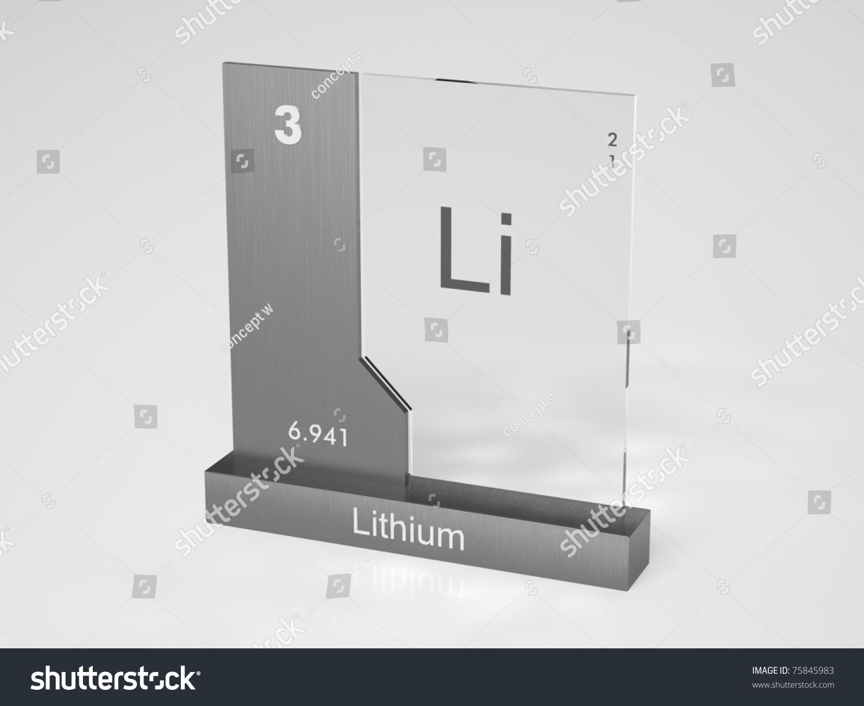 Lithium Symbol Li Chemical Element Periodic Stock Illustration