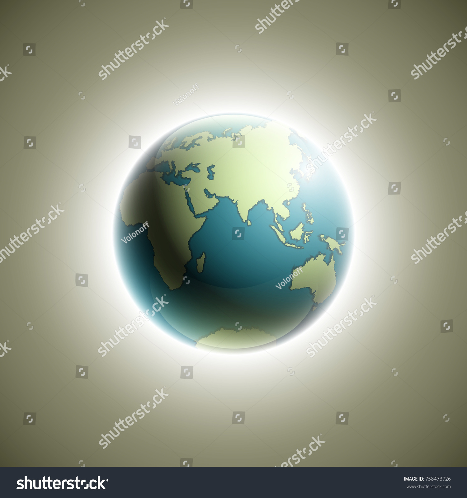 World map rising sun banner globe vectores en stock 758473726 world map with rising sun banner globe icon in space sunlight poster planet earth gumiabroncs