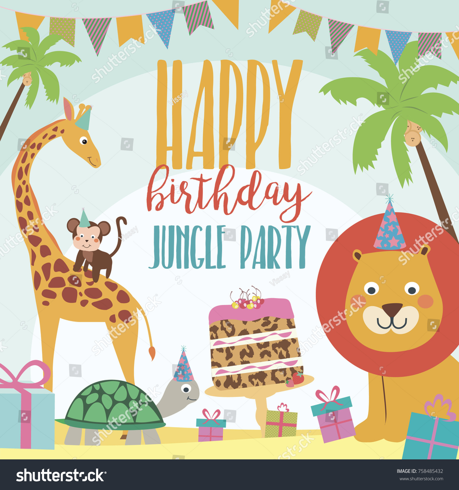 Happy birthday invitation card safari africa stock vector happy birthday invitation card for safari africa party vector illustration stopboris Choice Image
