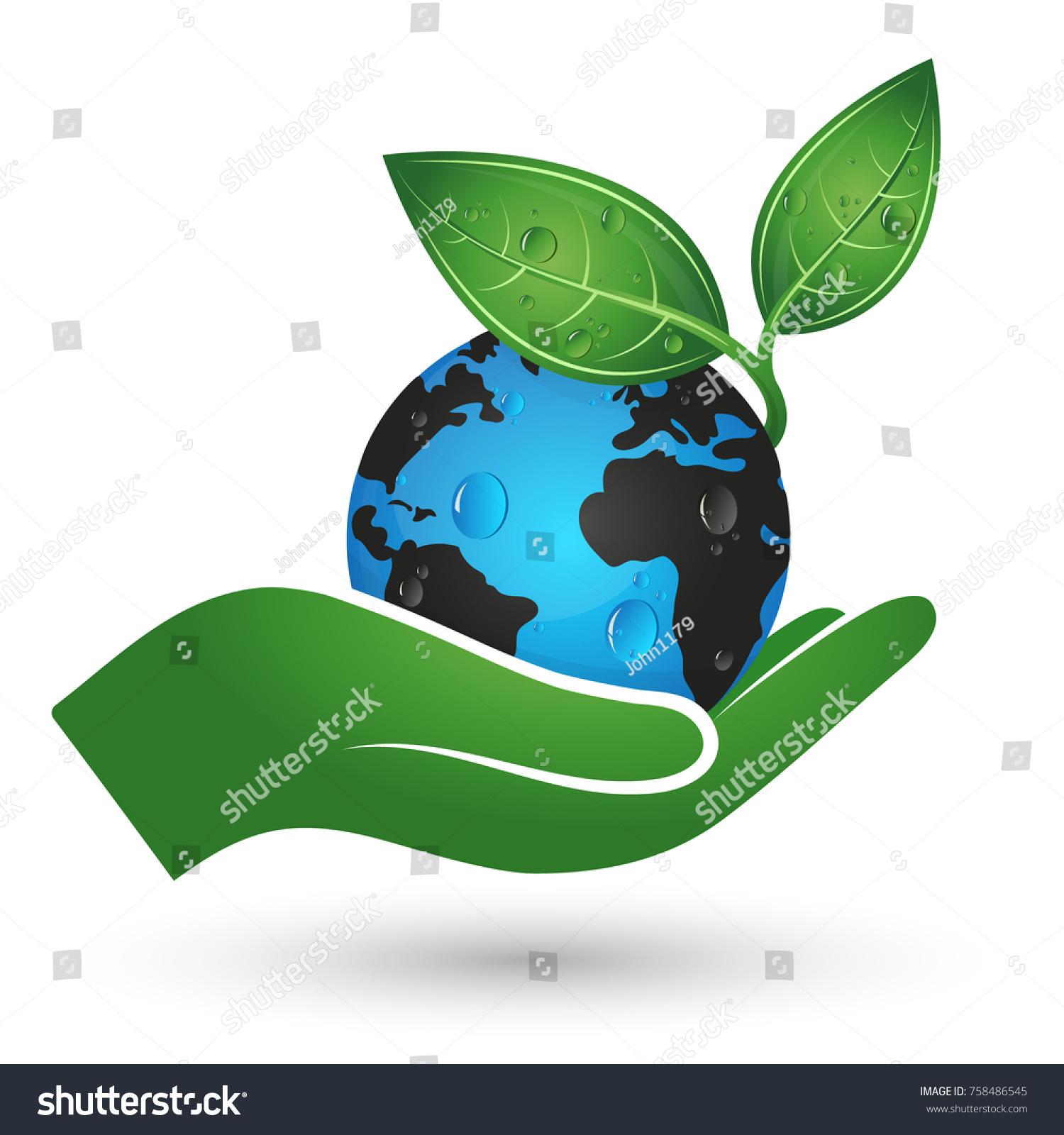 Planet earth green leaf hand symbol stock vector 758486545 planet earth and green leaf in hand symbol of ecology buycottarizona Choice Image