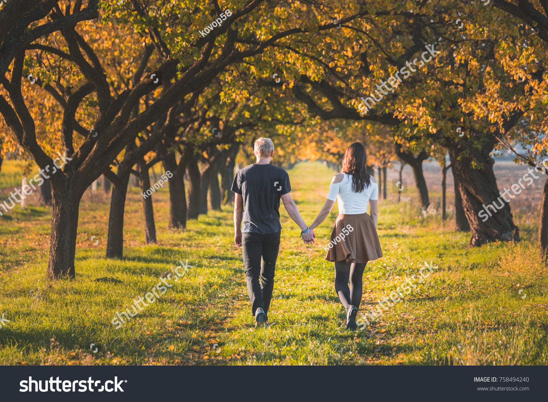 Couple Love Walking Autumn Orange Garden Stock Photo (Edit Now ...