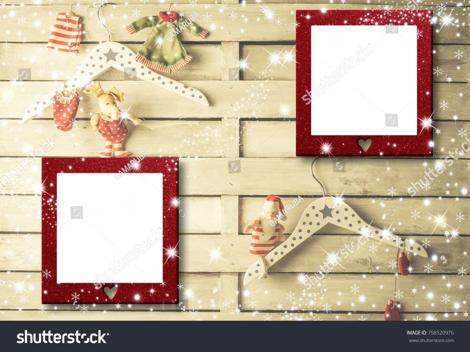 Christmas Photo Frames Cards Two Empty Stock Photo (Royalty Free ...