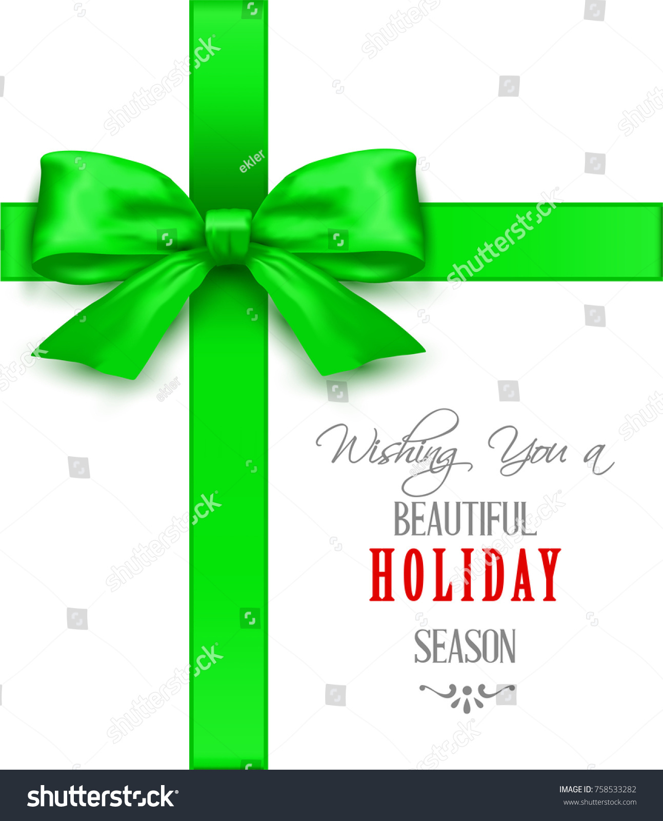 Christmas Greeting Cards Green Bow Vector Stock Photo Photo Vector
