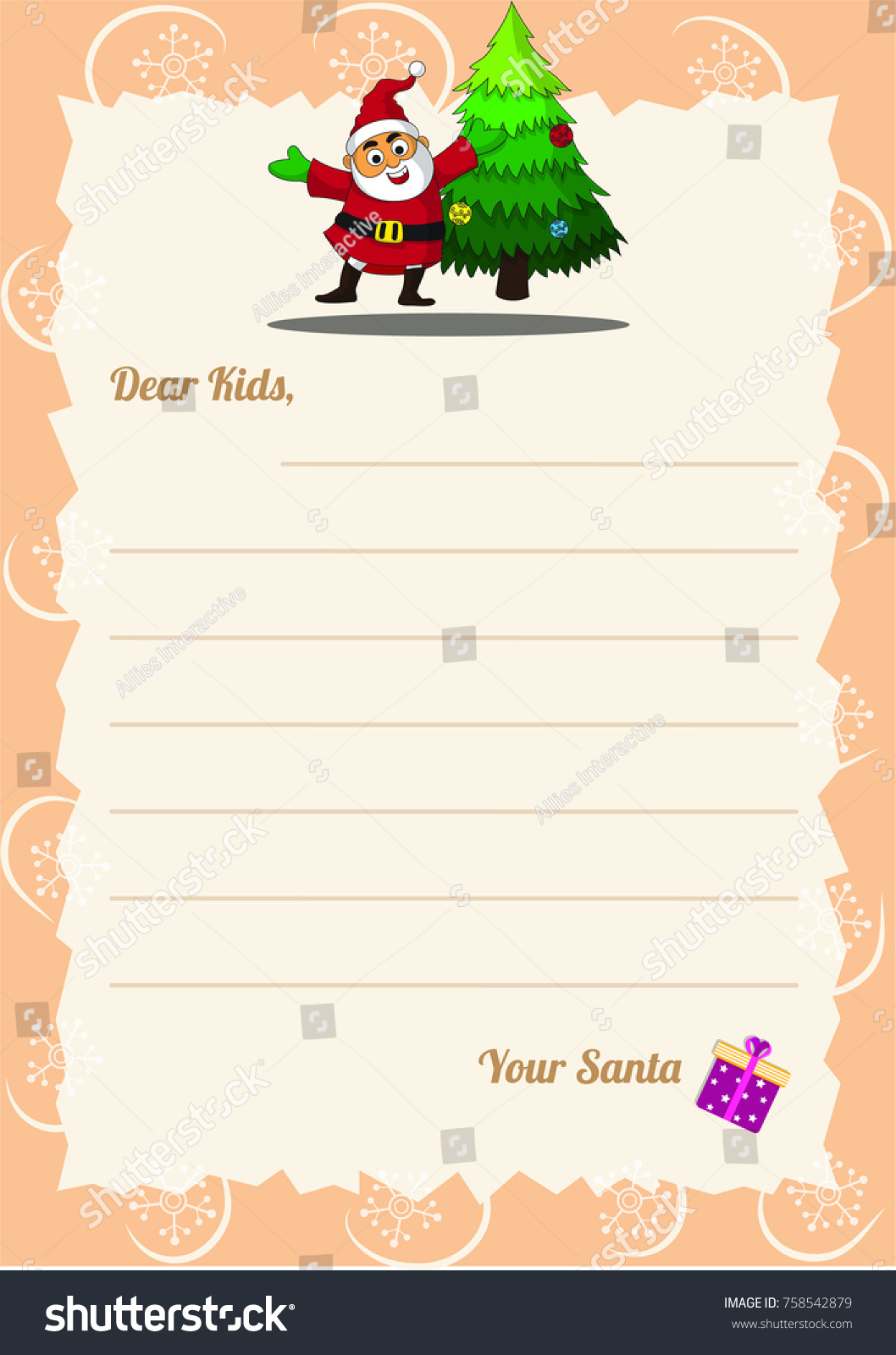 Christmas Wishlist Letter Santa Template Happy Stock Vector (Royalty ...