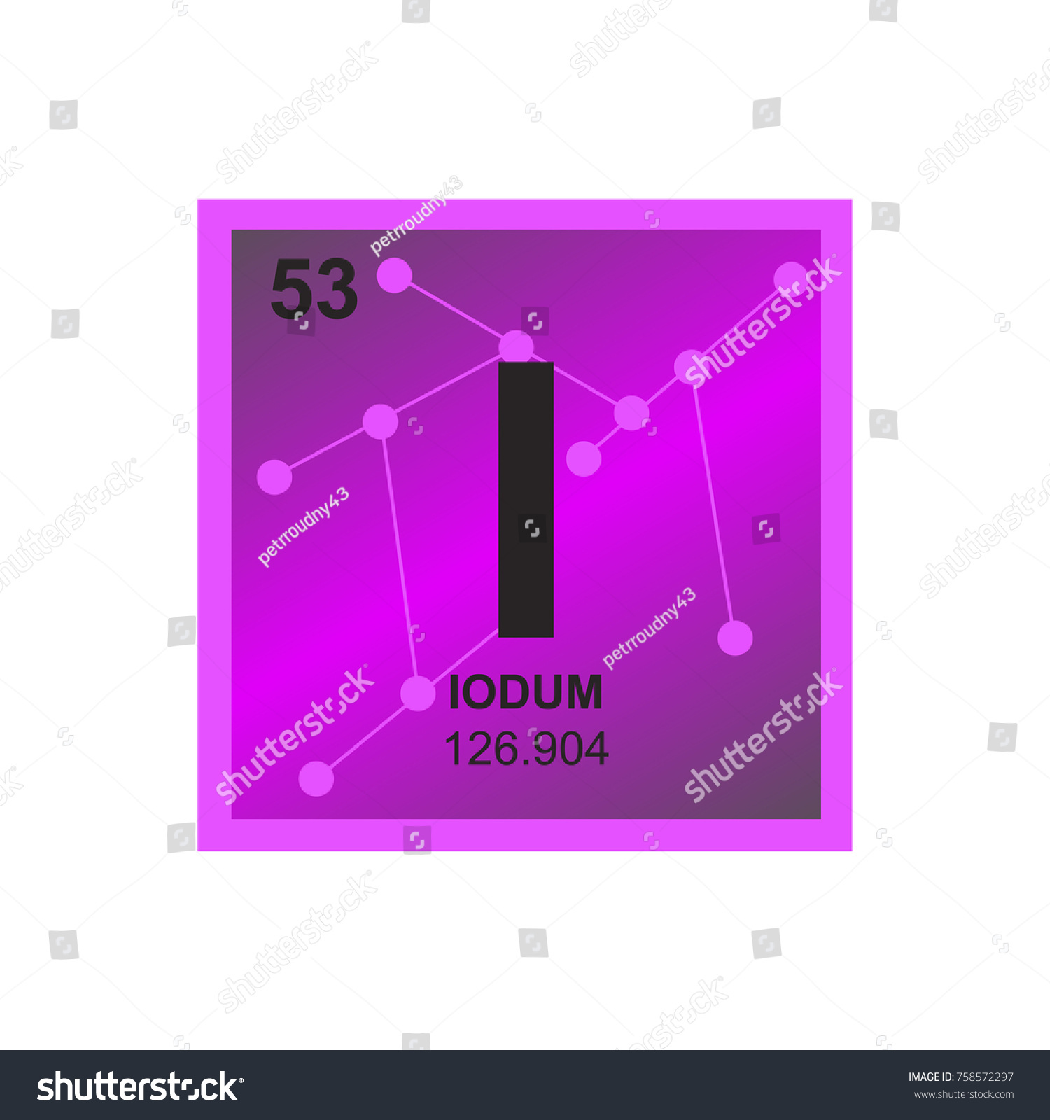Vector Symbol Iodine Periodic Table Elements Stock Vector Royalty