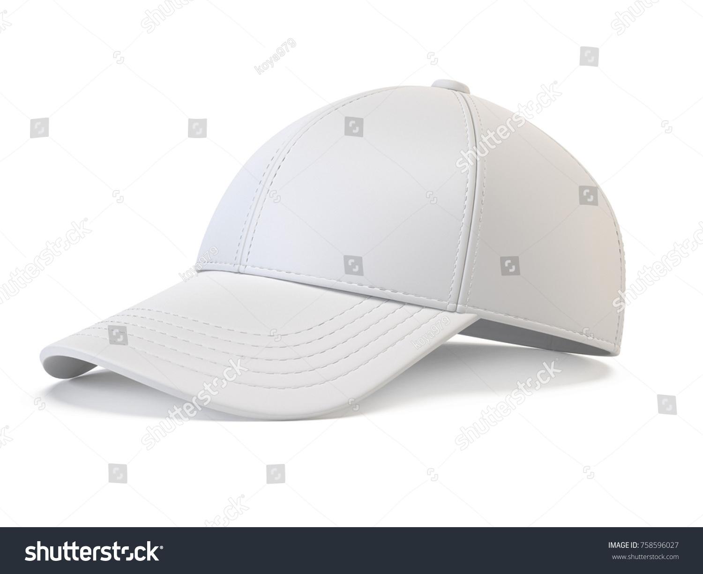White Baseball Cap Mock Up Blank Stock Illustration 758596027 ...