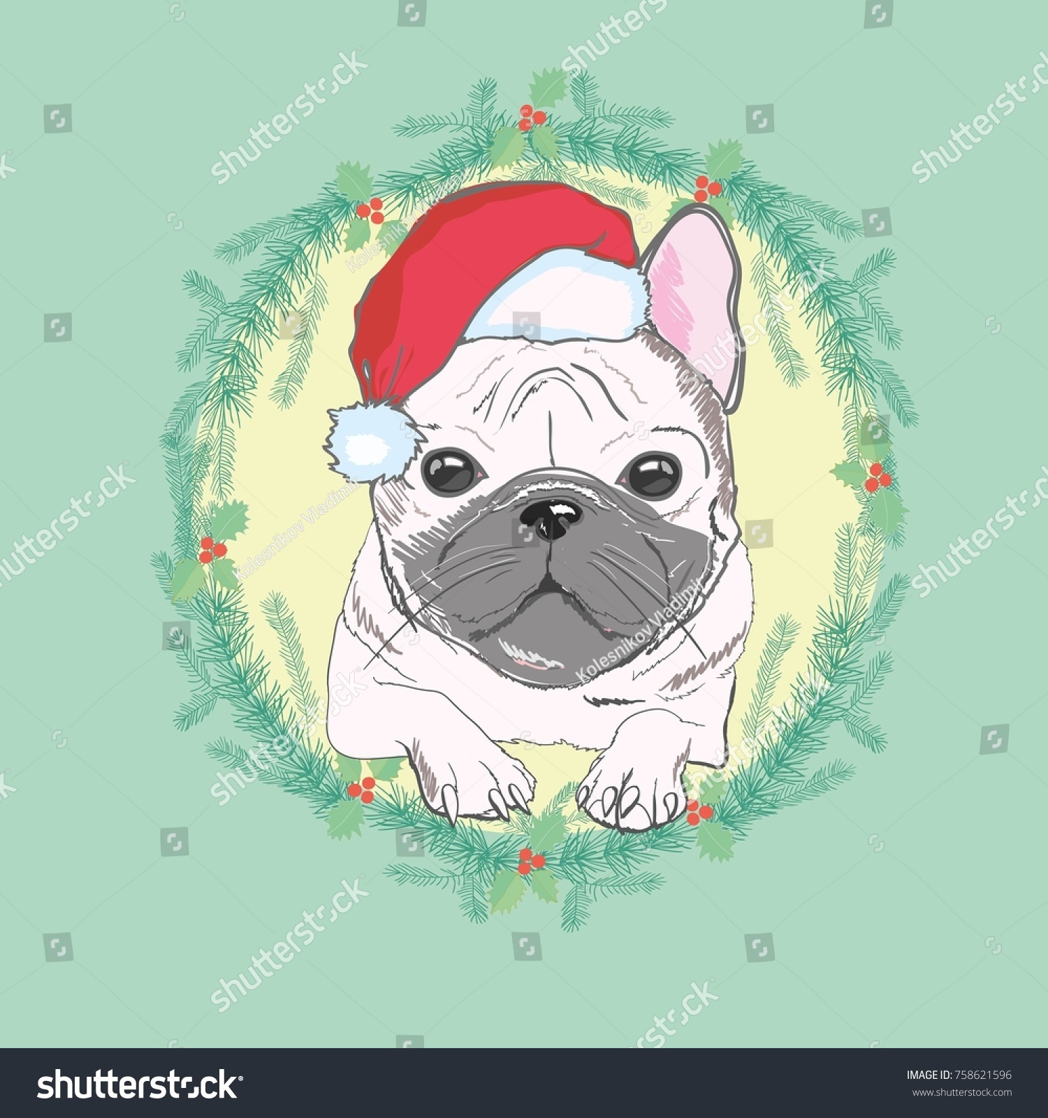 Christmas Greeting Card Pug Dog With Red Santa S Hat Ez Canvas