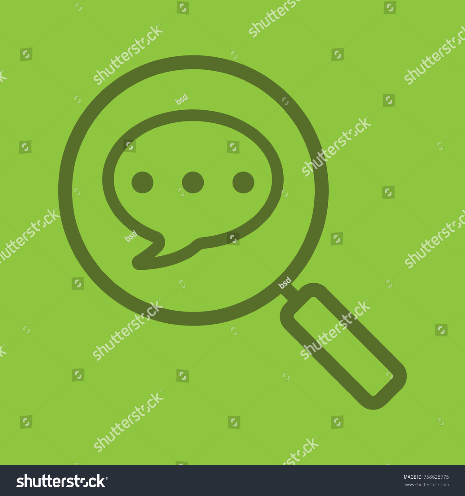 Magnifying glass chat box linear icon stock illustration 758628775 magnifying glass with chat box linear icon message search chatting thick line outline biocorpaavc