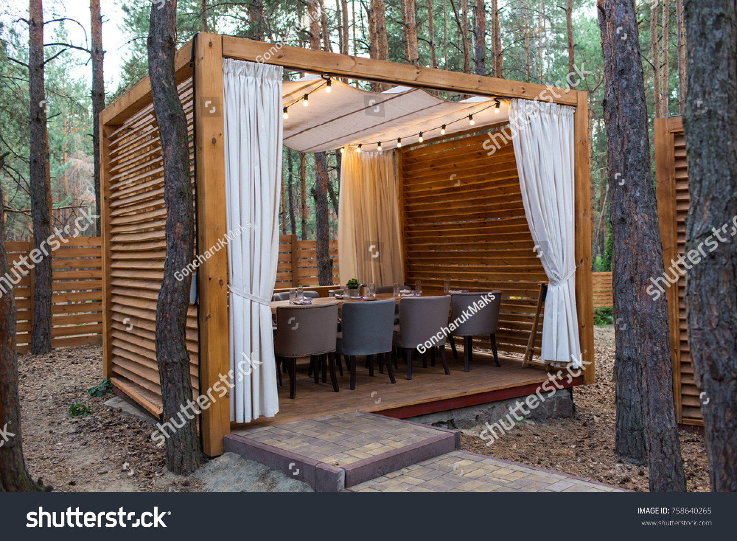 Wooden tent with table and chairs. Modern design of the restaurant in the forest in & Wooden Tent Table Chairs Modern Design Stock Photo 758640265 ...