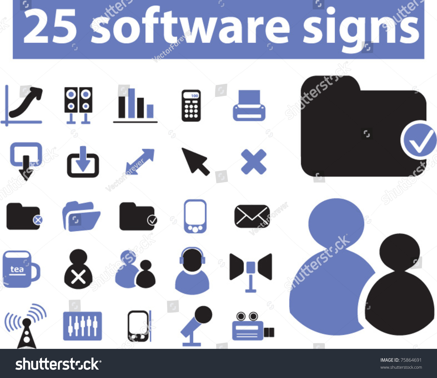25 software signs icons vector 75864691 shutterstock Vector image software