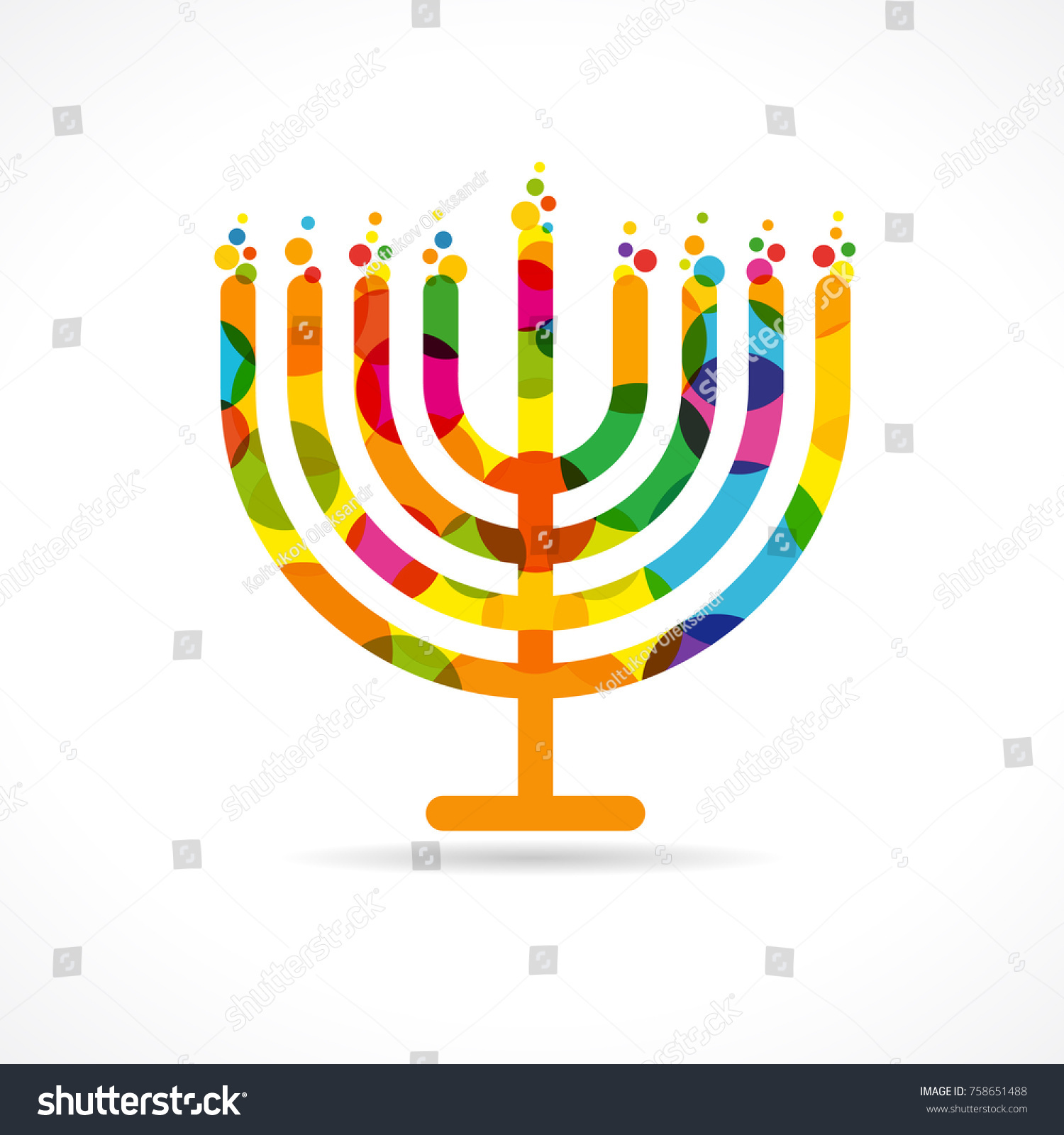 Hanukkah Menorah Emblem Colored Jewish Holiday Stock Vector Royalty